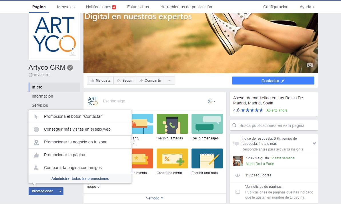 botón promocionar en facebook