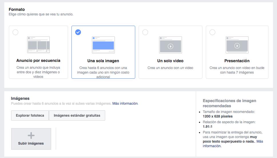 Crear anuncio en Facebook Ads
